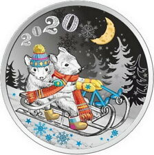 2020 Laos Lunar Year of the Rat Mouse 1/2 Oz Silver Proof Colored Coin å� Zodiac