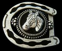 Horseshoe Black Horse Horseshoes Cowboy Cowgirl Western Belt Buckle Buckles