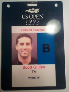 RARE 1997 US OPEN TENNIS MEDIA PASS VALID FOR ALL SESSIONS WNBC TV USTA EVENT