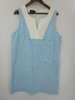 Pendleton Women's Blue and White Print Sleeveless Dress Size 16