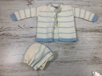 Vintage Blue Bird Knitwear Co Blue White Acrylic Baby Boys Knitted Sweater Hat