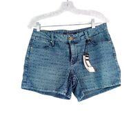 Max Women's Shorts Size 8 Blue Mid Rise Tile Print NWT