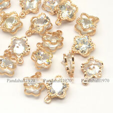Light Gold Cubic Zirconia Flower Alloy Charms Pendants Jewelry 12x9x5mm Hole 1mm