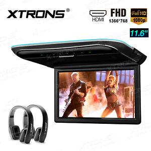 "11.6"" Car Roof Overhead Player HDMI HD Flip Down Monitor 1080P +2X IR Headsets"