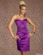 *♥*Sexy Cocktail-Kleid Satin Abendkleid Diamant-Steinchen Party Größe 34/36 Lila