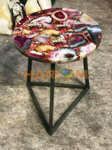 """15"""" Pink Agate Beautiful Coffee Table Top Handicrafted Bedroom Decors Gifts A095"""