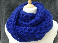 chunky scarf / snood / infinity scarf hand crafted crochet bright blue