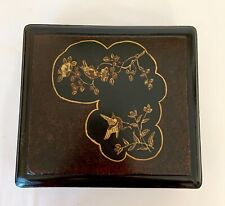 ANTIQUE JAPANESE BLACK LACQUER JEWELLERY TRINKET ORIENTAL BOX  7 x 8 x 2.5 ins
