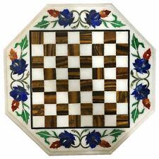2' marble chess table top center malachite inlay work handmade V136