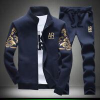 2Pc Men Sport Suit Jacket+Pants Tracksuit Jogging Athletic Sportswear Casual 5XL