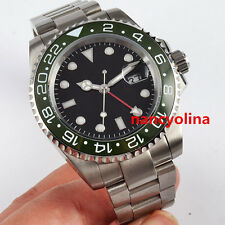 40mm Parnis black dial green ceramic bezel Sapphire Glass GMT Date Automatic 17