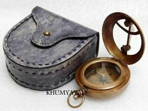 Brass Compass Pocket Sundial Compass Directional Compass with Leather case