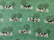 Estate Fabric Traditions 1993 Cows Scenery Farm Folk Vintage Country Trees Quilt