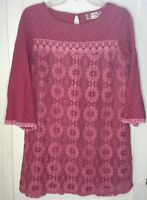 Flying Tomato Long Tunic Top Geometric Lace Long Sleeve Mauve/Pink Sz M