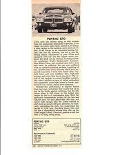 1972 PONTIAC GTO 455 HO ~ ORIGINAL SMALLER NEW CAR PREVIEW ARTICLE / AD