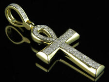 Unisex 10k Yellow Gold Micro Pave Real Diamond Ankh Cross Pendant Charm 0.33ct