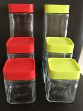 Set Of 6 Glass Storage Stackable Canisters, Jars For Kitchen  Screw-on Lids New