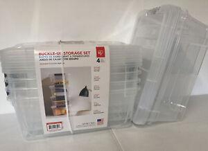 IRIS Buckle-Up Storage Set 12.9 Qt 6 PACK 4+2 Clear Plastic Storage Boxes W/Lids