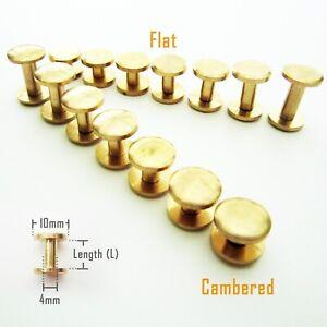 5/50pc Solid Brass Leather Belt Wallet Chicago Screw Nail Stud Bind Rivet 4-20mm