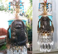 1o2 Black Cat Swag Lamp Chandelier metal glass opalin Beads crystal Art Deco Ins