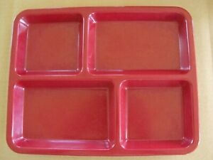 """12x Carlisle Melamine 4-Compartment Divided Tray 11"""" x 9""""; Lunch Cafateria Plate"""