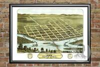 Old Map of Sauk City, WI from 1870 - Vintage Wisconsin Art, Historic Decor