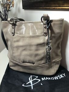 B. Makowsky Leather Medium Shoulder Bag with Signature Hardware #A212545
