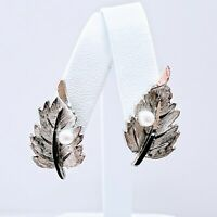 Vintage Sterling Silver Faux Pearl Detailed Leaf Paddleback Clip On Earrings