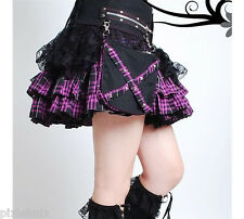 Tartan & Lace Skirt with detachable Belt & Pockets Purple Goth Lolita Punk 61091