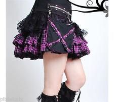 Falda de Encaje & Tartán Con Correa Desmontable & Bolsillos Púrpura Punk Goth Lolita 61091