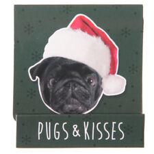 Pug Xmas Design Nail File Matchbook - Pug-lover Gift Idea Secret Santa Black Elf Hat