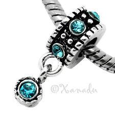 Aquamarine European Charm Bead For Charm Bracelets - March Birthday Birthstone