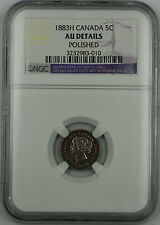 1883-H Canada 5c Five Cent Coin, NGC AU Details, Polished