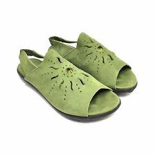 Women's Arche Green Nubuck Slingback Flat Sandals Size 37
