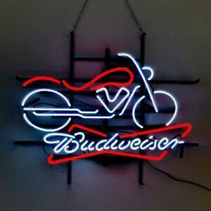"24""x20""Budweiser Motorcycle Neon Sign Light Man Cave Wall Decor Nightlight Gift"
