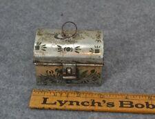 "antique tin document box miniature sample painted 2.75"" original vg"