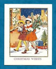 PRETTY C1920s CHRISTMAS CARD CHILDREN WITH HOLLY & SLEDGE - LOVELY COLOURS