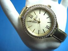 BULOVA CARAVELLE NEW YORK 44L131 CRYSTAL BEZEL LADIES WATCH GOLD PL CASE LEATHER