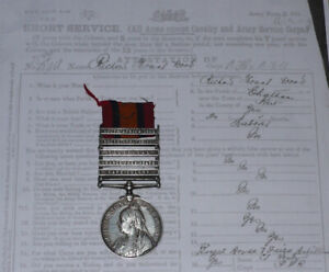 QUEEN'S SOUTH AFRICA MEDAL 5 CLASPS TO 43rd BATTERY RFA + Papers AWOL