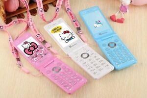 Unlocked Hello Kitty Flip Cute Mini Cellphone For Women Girls Kids Dual Sim Gift