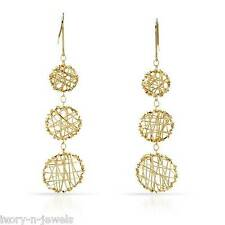 """Fancy Wrapped Circle Puff Earrings 3.4 grams 14K Solid Gold 2 3/8"""" Long"""