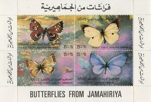 BUTTERFLIES FROM JAMAHIRIYA WINGED INSECT MNH STAMP SHEETLET
