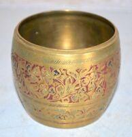 Antique Old Brass Floral Meena Work Pot Vase