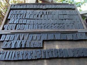 Vtg Letterpress Wood Type Printer Blocks-Upper/Lower Case-Numbers-Punc-152 Block