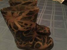 Firebugs by Mia boots Girls Size 12 pink floral water rain boots light up