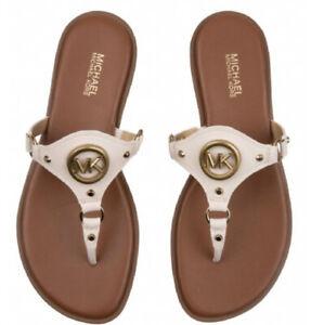 Michael Kors MK Conway Sandal Leather Cream/ Ivory  Cream MK logo Size 7