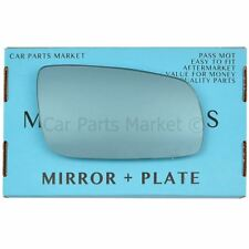 For Seat Leon 99-03 Right Driver side Flat Blue wing mirror glass with plate