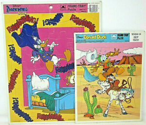 2 Disney's Darkwing Duck 4664D-14 Donald Duck 4510-14A Golden Frame Tray Puzzles