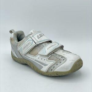 Garneau Womens ERGO Grip White Leather 2 Bolt Road Cycling Shoes Size 8