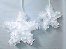 "60835 7"" & 10"" Hanging Feather Stars Christmas Decoration Decor Ornament"